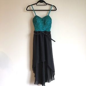 NWT Lily Rose teal & black high-low dress